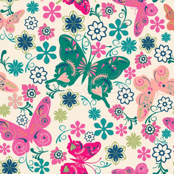 Pattern farfalle fiori illustrazione vettore arte Foto d'archivio © Margolana