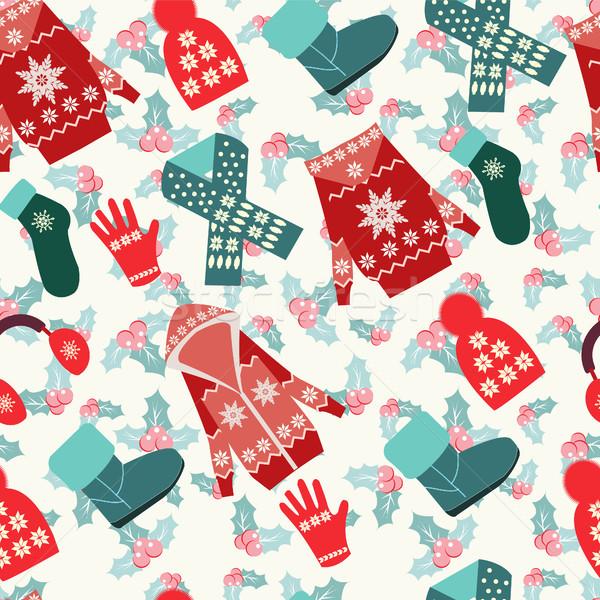 коллекция зима одежды иллюстрация дизайна Сток-фото © Margolana