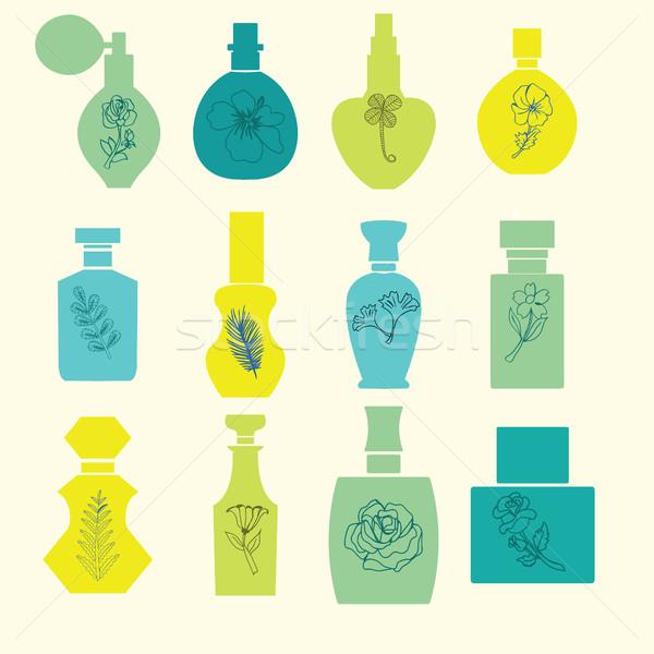 セット ヴィンテージ 化粧品 香水 ボトル シルエット ストックフォト © Margolana