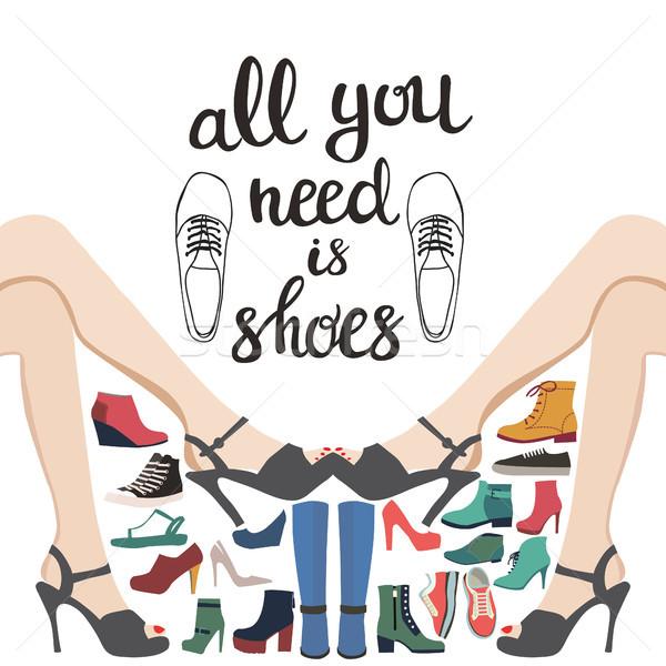 Main mode ensemble chaussures Shopping vecteur Photo stock © Margolana