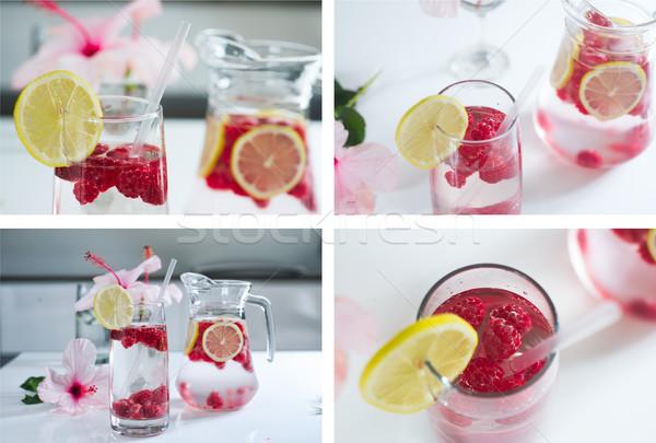 Foto stock: Limonada · fresco · framboesas · conjunto · quatro · água