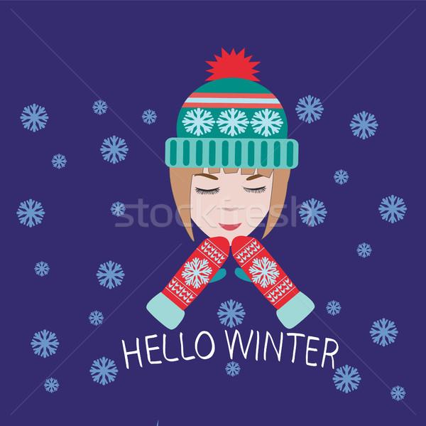 Grußkarte Einladung cute Mädchen Hallo Winter Stock foto © Margolana