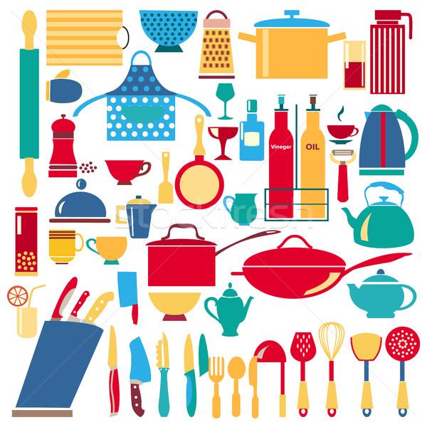 Cocina restaurante icono vector batería de cocina Foto stock © Margolana