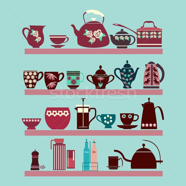 セット 茶 コレクション ポット 茶碗 棚 ストックフォト © Margolana