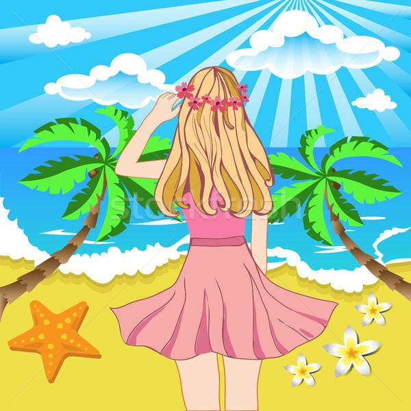 красивая девушка пляж морской пейзаж впереди вид сзади лет Сток-фото © Margolana