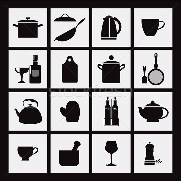 キッチン レストラン 黒 アイコン 台所用品 ベクトル ストックフォト © Margolana