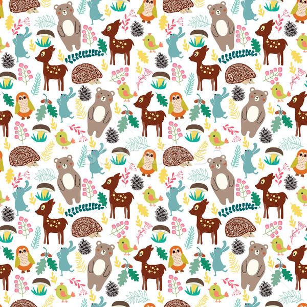 Cute Cartoon лес животные бежевый Сток-фото © Margolana