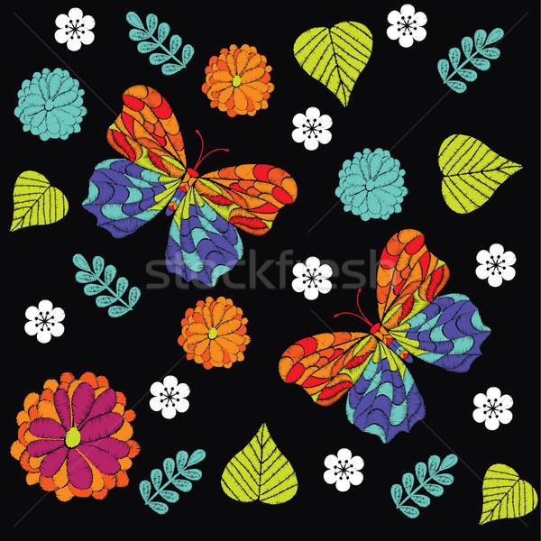 Haft piękna kwiaty Motyl wektora Zdjęcia stock © Margolana