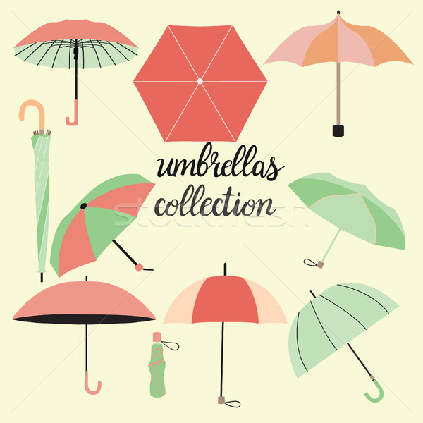 collection of different fashion umbrellas and lettering Stock photo © Margolana