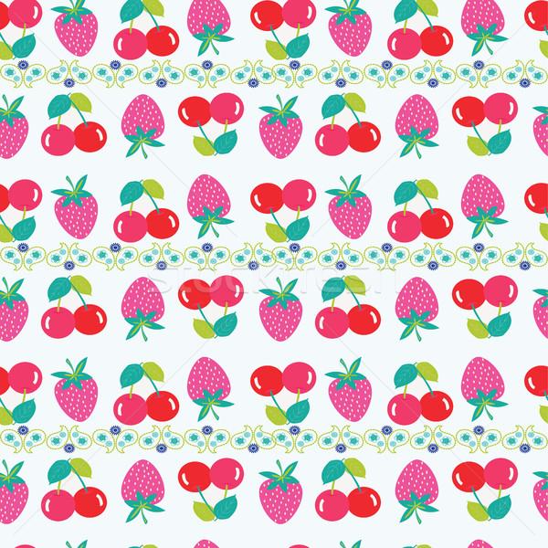 Seamless vector pattern with strawberries and cherries.Vector su Stock photo © Margolana