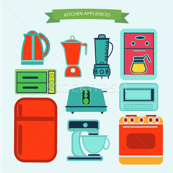 Utensílios de cozinha ícones vetor projeto estilo elementos Foto stock © Margolana