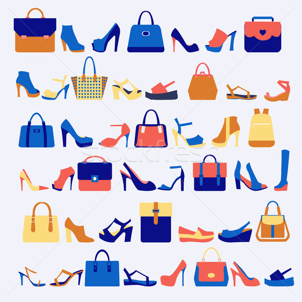 Set icone moda borse scarpe vettore Foto d'archivio © Margolana