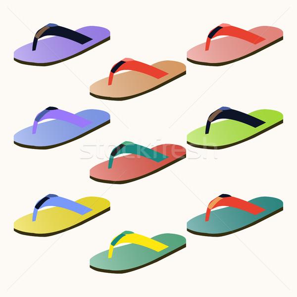 Set of colorful flip flops  Stock photo © Margolana