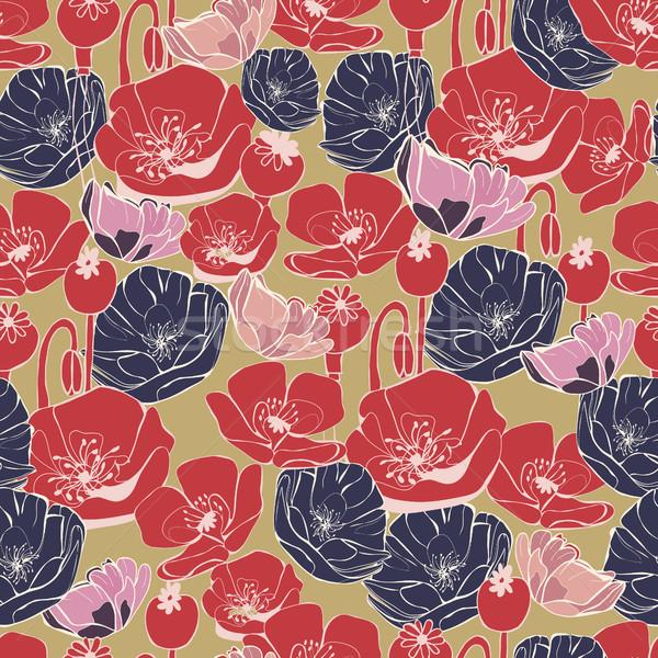Foto stock: Vetor · belo · papoula · padrão · flores · vintage