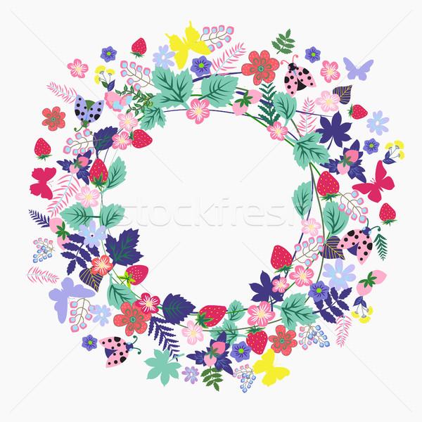 été vintage cadre fleurs vecteur fleur Photo stock © Margolana