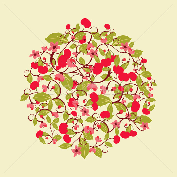 cute round pattern with Cherries and blossom. Stock photo © Margolana