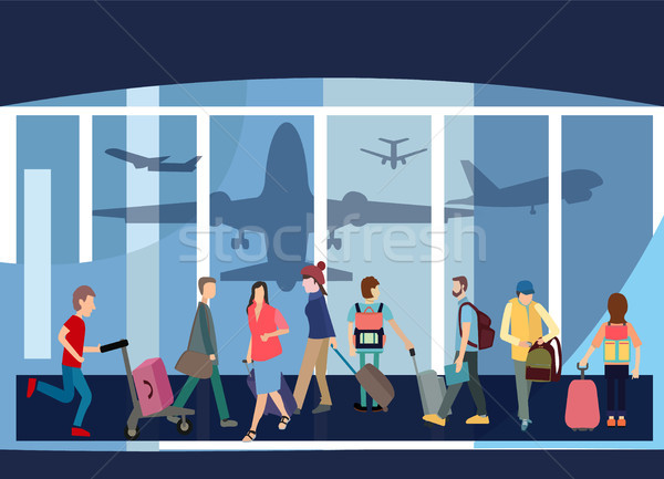 Traveler People Airport Hall Departure Terminal Travel Baggage B Stock photo © Margolana