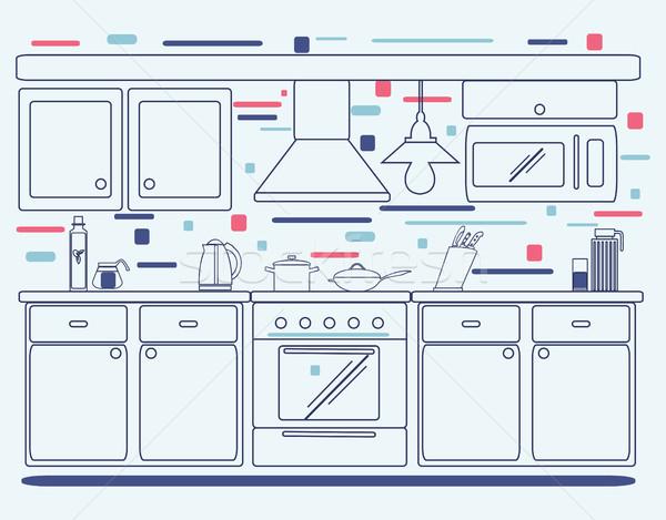 Linear design de interiores ilustração moderno estilista interior da cozinha Foto stock © Margolana