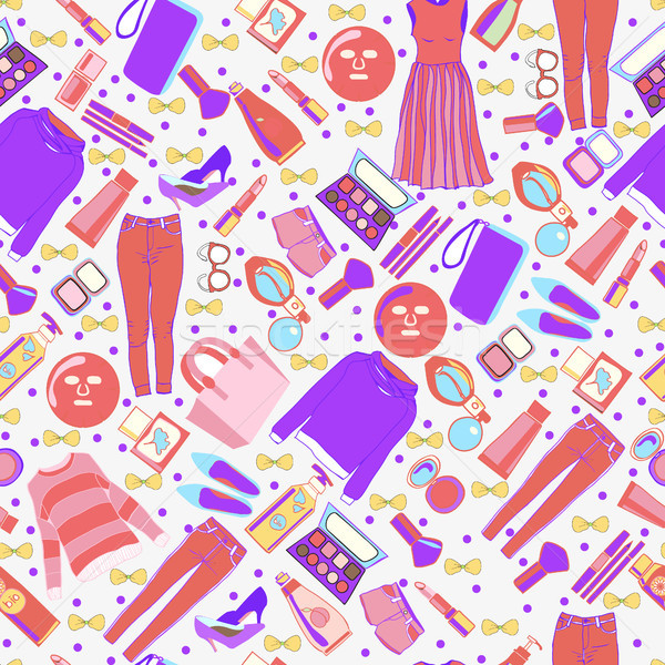 Stock photo: fashion collection of clothes and accessories pattern.