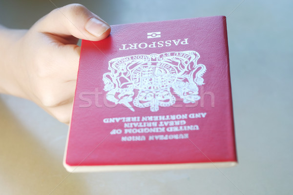 Persons hand holding a passport of Great Britain Stock photo © Margolana