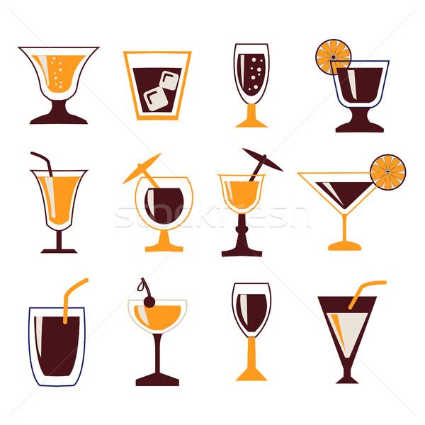 Boissons vecteur silhouettes cocktail Photo stock © Margolana