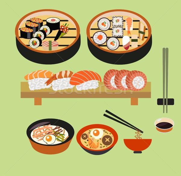 Vector food background- Japanese food  Stock photo © Margolana