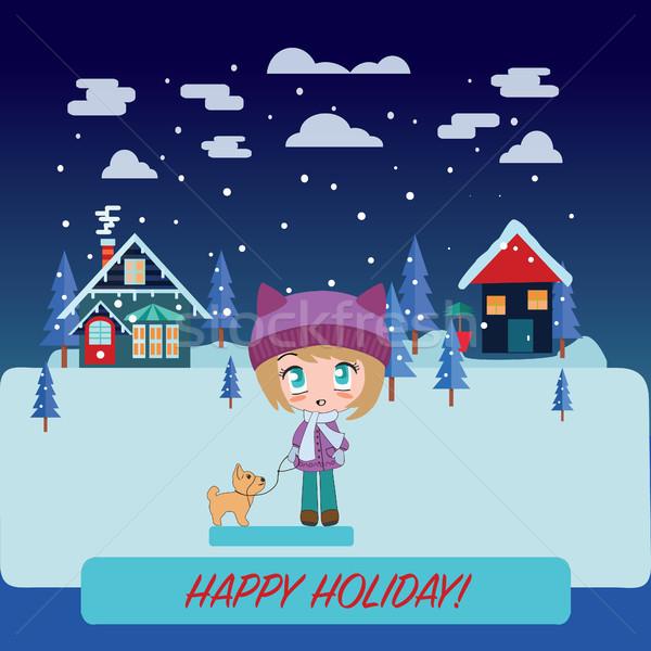 Winter landscape with Beautiful cartoon chibi girl Stock photo © Margolana