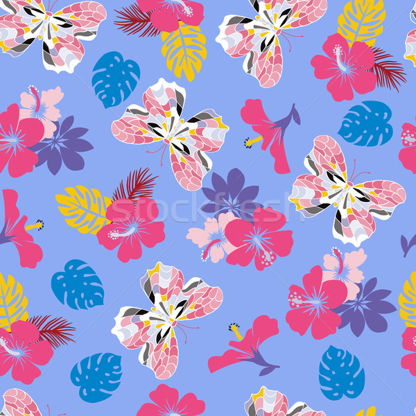 flower hibiscus and flying butterflies Seamless tropical pattern Stock photo © Margolana