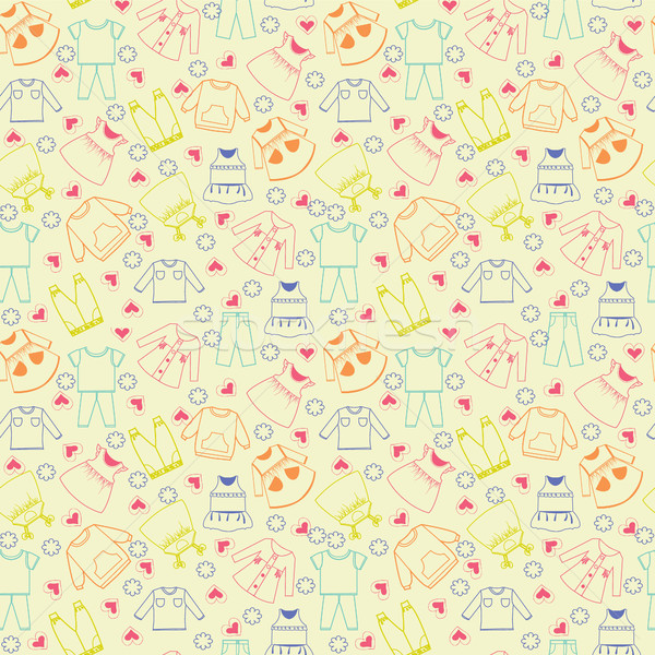 Vector cute background collection of baby and children clothes.  Stock photo © Margolana