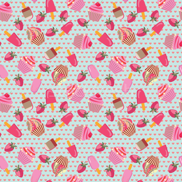 Cute Dessert Pattern with ice-creams and cup-cakes. Stock photo © Margolana