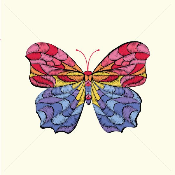 Nakış vektör desen kelebek dizayn giyim Stok fotoğraf © Margolana
