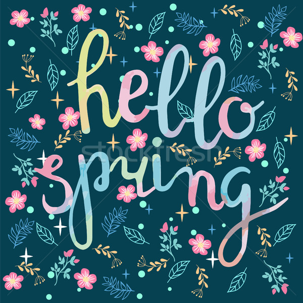 Watercolor hand drawn Hello spring greeting card. Stock photo © Margolana