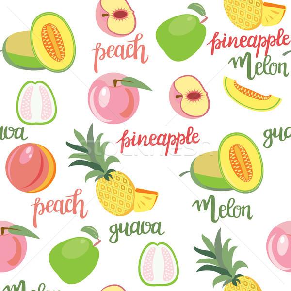 Frutas melocotón melón pina mano Foto stock © Margolana