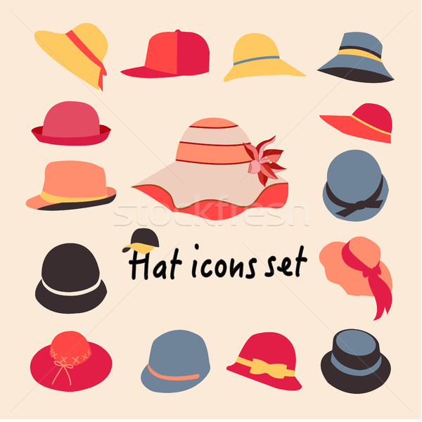 Vector collection of hats for men and women Stock photo © Margolana