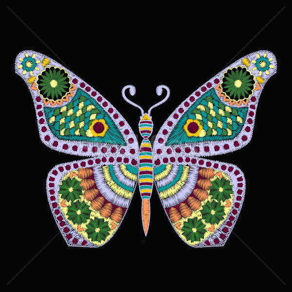 Embroidery Vector pattern with butterfly on black background Stock photo © Margolana