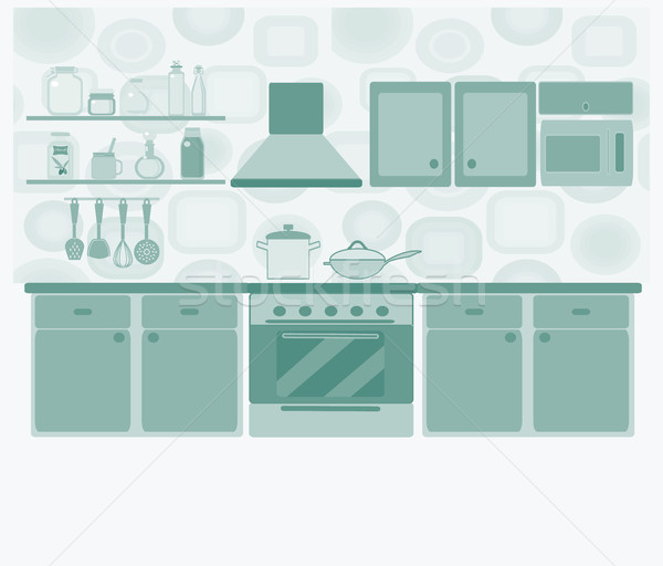 кухне мебель набор интерьер кухни таблице Сток-фото © Margolana