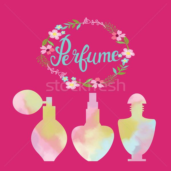 Kwiaty ramki tekst perfum akwarela butelek Zdjęcia stock © Margolana