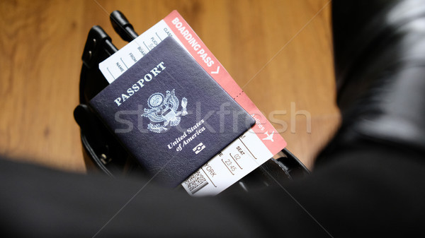 United States passport and boarding pass on bag Stock photo © Margolana