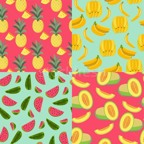 パターン 果物 バナナ パイナップル メロン スイカ ストックフォト © Margolana