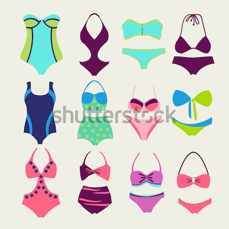 Fashion  Different types icons of bras and pants Stock photo © Margolana
