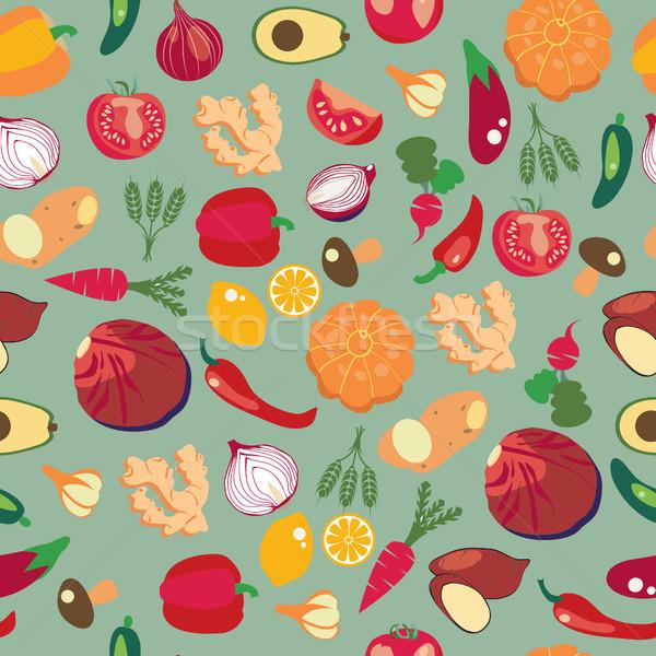 Foto stock: Fresco · alimentação · saudável · legumes · padrão · vetor · estilo