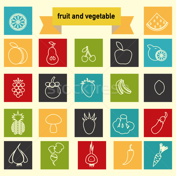 Legumes frutas eco comida linear vetor Foto stock © Margolana