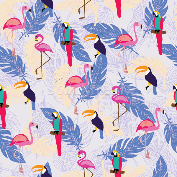 pattern with exotic tropical birds and Feathers.  Stock photo © Margolana