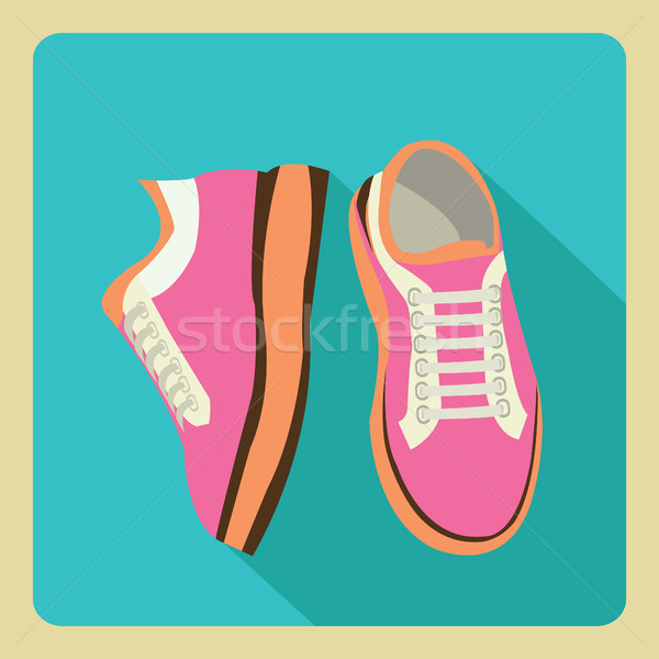 gym sneakers on side and front view over isolated flat  Stock photo © Margolana