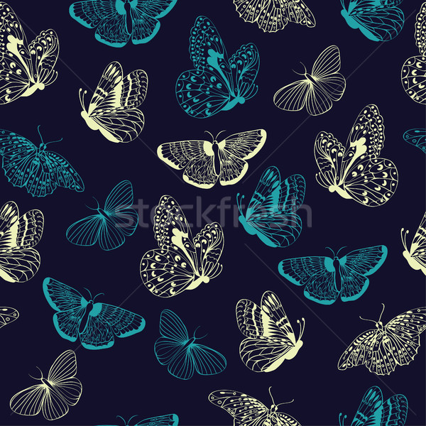 Kelebekler siluetleri şıklık kelebek karanlık Stok fotoğraf © Margolana