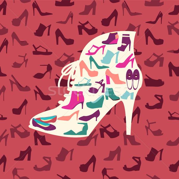 fashion footwear background and icons set. Vector illustration Stock photo © Margolana