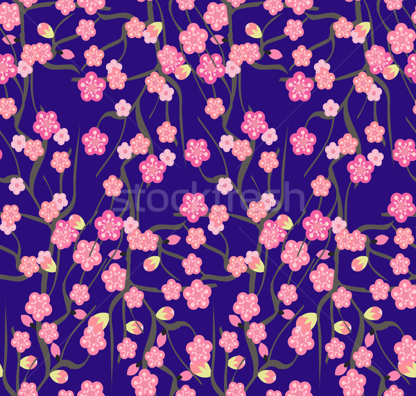 Cherry blossoms with the branches pattern on a violet background Stock photo © Margolana