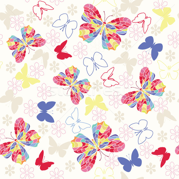 Seamless pattern with flying butterflies and flowers. Stock photo © Margolana