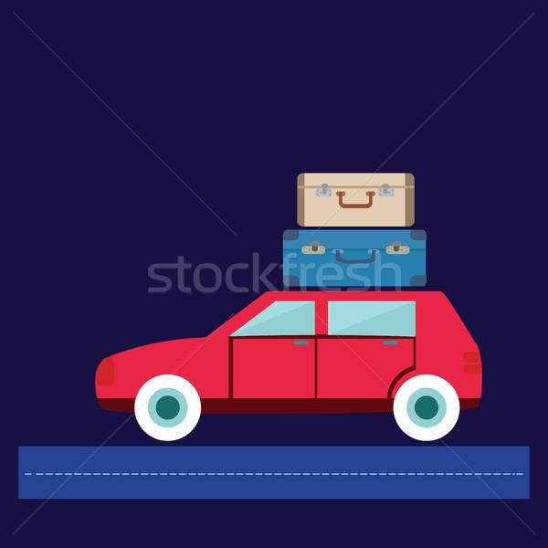 Voyage voiture illustration bagages vacances d'été modernes Photo stock © Margolana