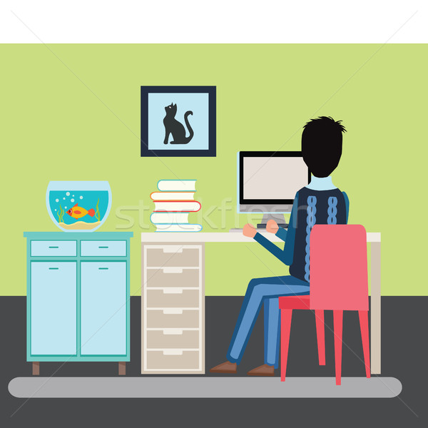 illustration man sitting in the room at a desk and working on t Stock photo © Margolana